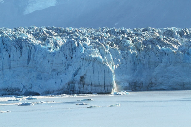 It is really hard to get a feel for how absolutey huge the glacier is.  That is 350 feet of ice showing!!
