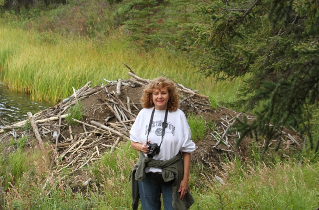 Terri looking stunning in front of a Beaver's dam!